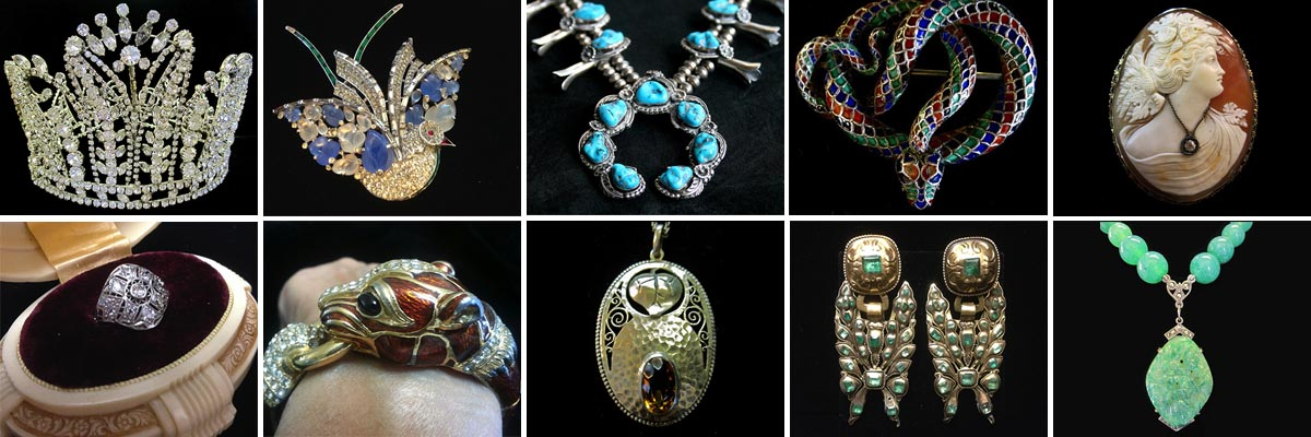 (Left to Right) Vintage Rhinestone Tiara Crown, Fruit Salad Trifari Alfred Phillippe Bird Brooch, Squash Blossom necklace in Indian turquoise jewelry, Egyptian revival enamel snake brooch, Cameo jewelry Habille dressed with Diamond, Vintage engagement ring art deco platinum, Ciner enamel animal clamper bracelet, Theodor Fahrner Jugenstil Pendent, Georgian Jewelry Emerald Earrings , 1930's Jadeite and Marcasite Art Deco Necklace