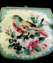 embroidered bird purse