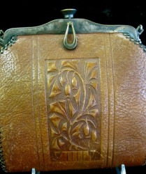 arts and crafts leather tooled bag